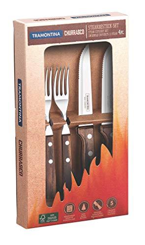 Tramontina 29899/312 Gaucho Steakbesteck, Set 4 teilig, Edelstahl AISI 420