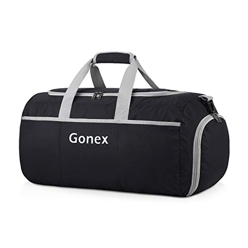 Gonex 50L Foldable Travel Duffel Bag for Luggage, Gym, Sport, Camping, Storage, Shopping Water & Tear Resistant Black
