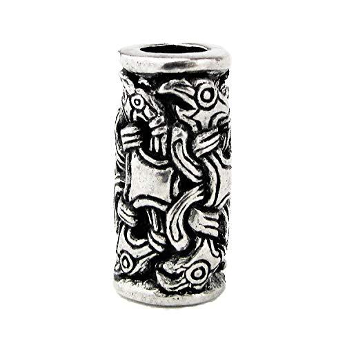 2er Pack Odins Raben Bart oder Haar Perlen aus Zinn - Mit Wikinger-Knotenwerk