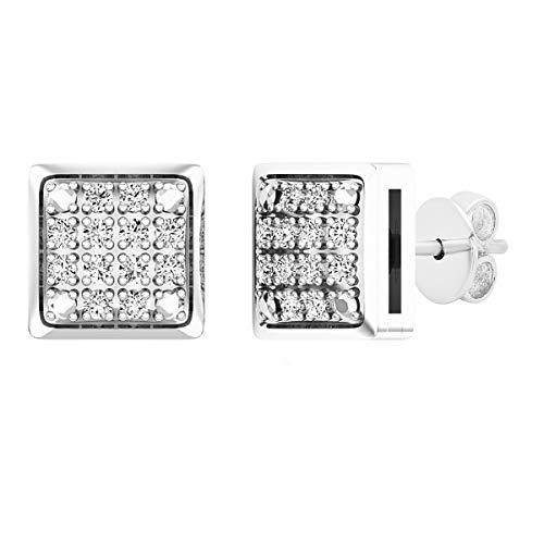 Pendientes de tuerca de plata de ley con forma de cubo de hielo y diamante redondo de 0,20 quilates para hombre