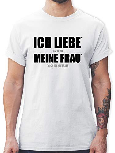 Nerds & Geeks - Ich Liebe Meine Frau - M - Weiß - t-Shirt Herren XXL mit sprüchen - L190 - Tshirt Herren und Männer T-Shirts