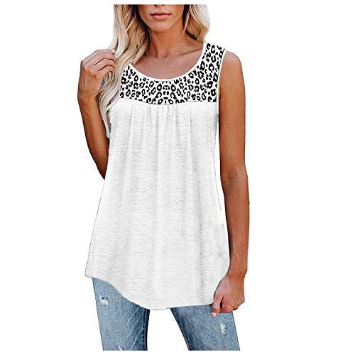 2021 Nuevo Camisetas sin Mangas Mujer, Verano Moda Cuello en V Casual Leopardo Camisetas de Tirantes Talla Grande Supersoft Suelto Playa Camisole Tops Chaleco Blusa Camisas básica tee