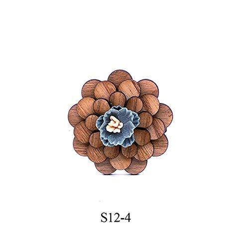 DYDONGWL halsbanden, heren hout revers bloem broche pin handgemaakte revers pin voor mannen bruiloft partij pak decoratie Boutonniere corsage