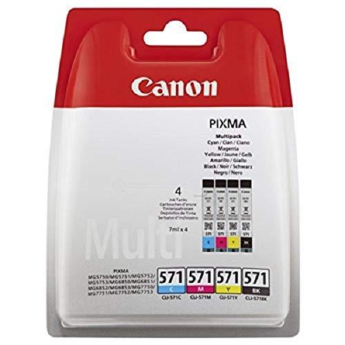 Canon CLI-571 BK/C/M/Y Druckertinte Multipack - 4 x 7 ml für PIXMA Tintenstrahldrucker ORIGINAL