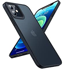 TORRAS 半透明 iPhone 12 mini 用 ケース 超耐衝撃 米軍MIL規格取得 マット感 黄ばみなし ストラップホール付き 画面レンズ保護 2020年5.4インチ アイフォン12mini用カバー ブラック