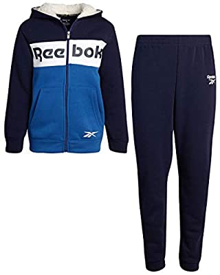Reebok Boys' Jogger Set - 2 Piece Sherpa Lined Full-Zip Hoodie and Jogger Sweatpants Set (Toddler/Boys), Navy/Blue, Size 12'