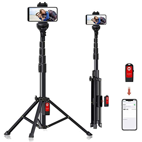 """Selfie Stick Tripod, 59"""" All-in-One Extendable Portable Bluetooth Selfie Sticks Phone Tripods Compatible with iPhone 11 11 pro Xs Max Xr X 8Plus 7, Galaxy S10+ S9 S8 and Digital Cameras, Lightweight"""