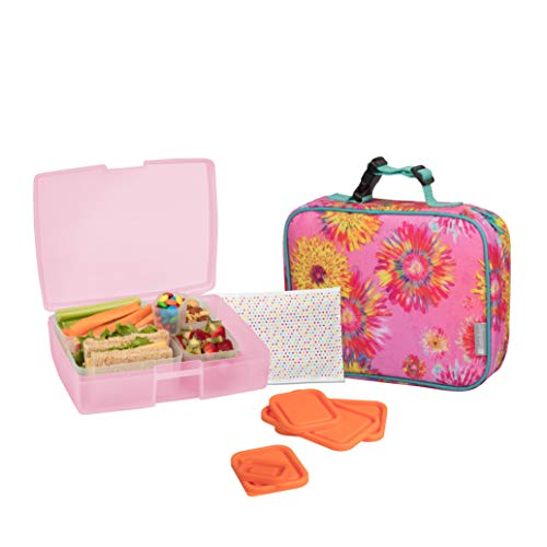 Bentology Lunch Bag and Box Set for Kids - Girls Insulated Lunchbox Tote, Bento Box, 5 Containers and Ice Pack - 9 Pieces - Watercolor Flowers