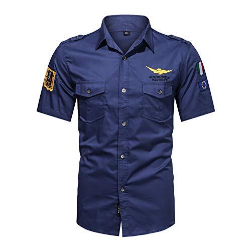 LSSM Camisa Bordada Casual De La Camisa De Manga Corta De Las Herramientas De Los Hombres del Verano Camisetas De Manga Larga Camisas Sueltas Color SóLido Blusa con Cuello Azul-2 XXL