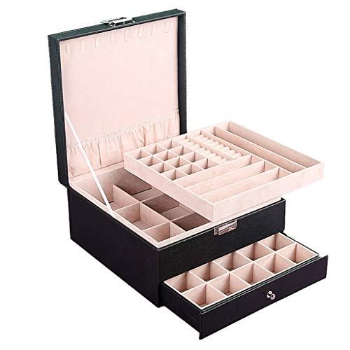 Caja De Joyería De Múltiples Celdas Rosa Caja De Almacenamiento De Joyería De Estilo Europeo De Gran Capacidad Caja De Acabado De Anillo De Pendientes De Collar De Joyería