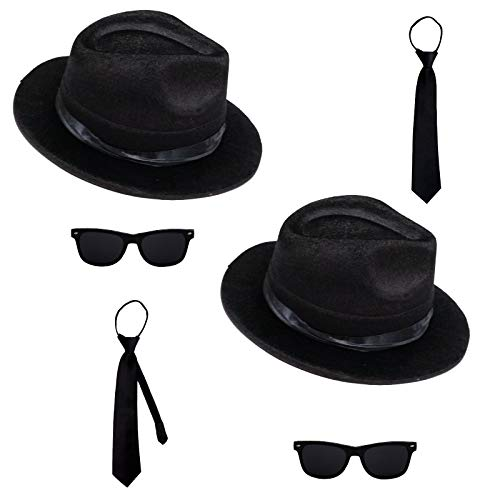 Spassprofi 2 Blues Brothers Sets Hut , Brille und 2 Schlipse Kostüm Set Fasching
