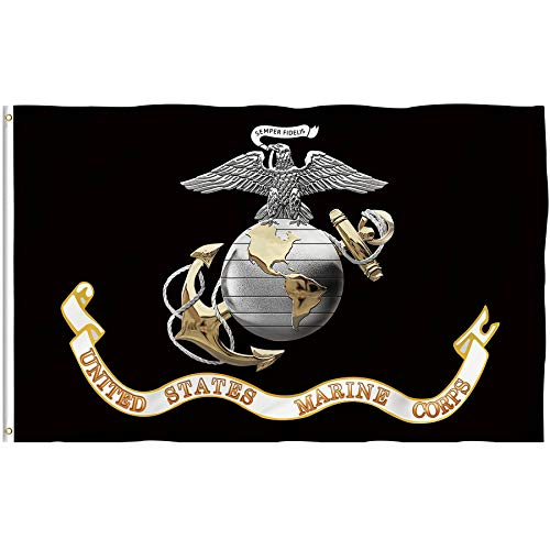Bonsai Tree Black Marine Corps Flag 3x5 Ft, Double Sided and Double Stitched USMC Flags with Brass Grommets, Marines Veteran Retired Military Polyester Garden Signs Banners House Outdoor Decorations
