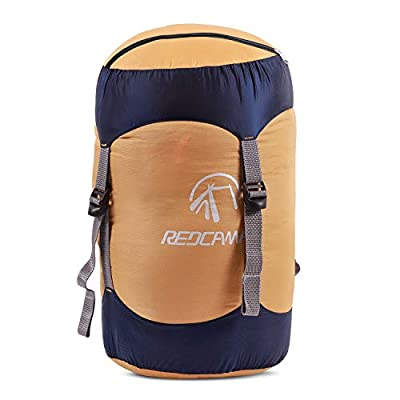 REDCAMP Nylon Compression Stuff Sack, Lightweight Sleeping Bag Compression Sack Great for Backpacking, Hiking and Camping, Orange M