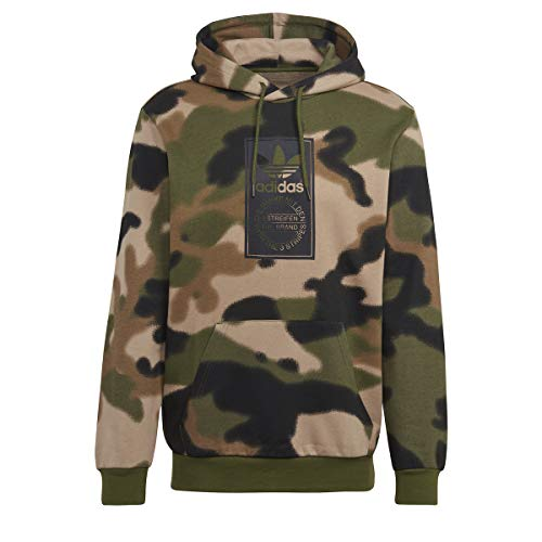 adidas GN1879 Camo AOP Hoodie Sweat Mens Wild Pine/Multicolor/Black XL