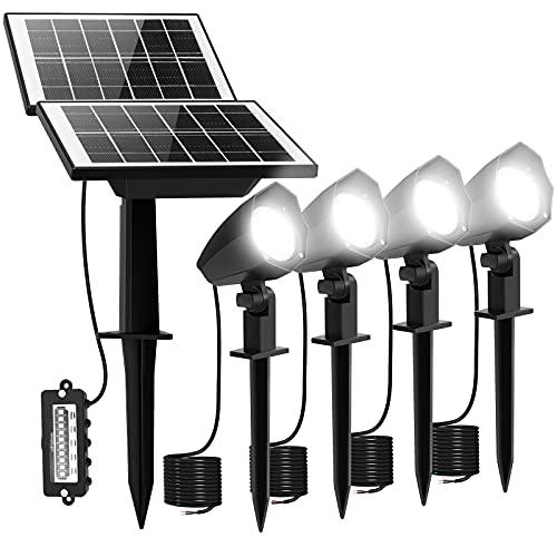 MEIHUA 4 in 1 Solar Spotlights Outdoor Garden Light Solar-Powered Landscape Spike Lights IP66 Waterproof for Pathway Driveway Garden Courtyard Patio Lawn Corridor, 6000K Cool White, 5M Wire