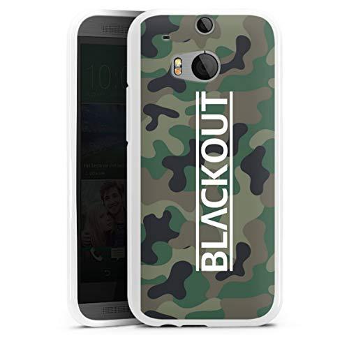 DeinDesign Silikon Hülle kompatibel mit HTC One M8s Hülle weiß Handyhülle Blackout Camouflage YouTube
