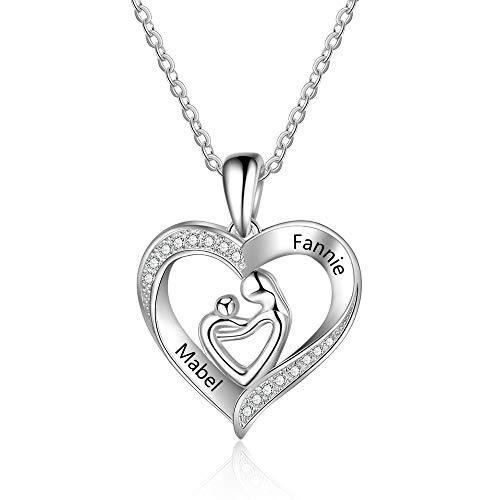 XiXi Naamketting, 925 zilver, gepersonaliseerde ketting voor moeder en dochter, met gravure, hartvormige hanger voor dames, moeder en baby, liefde, hartje, hanger, halsketting, dames, cadeau voor mama