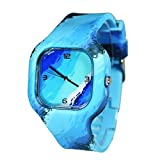 origset Sports Sailor Blue Water Wave Sea River Aqua Marine Ocean Casual Hand Watches Jelly Students Teens Lady Women Presents Boys Girls Waterproof Swimming Water Resistant Dress Clothes