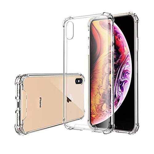 Hually Funda para iPhone XS MAX, Suave TPU Gel Ultra Fina Protección a Bordes, Compatible con Carga Inalámbrica Enjaca,Borde de Silicona Suave Funda iPhone XS MAX –Transparente(6.5