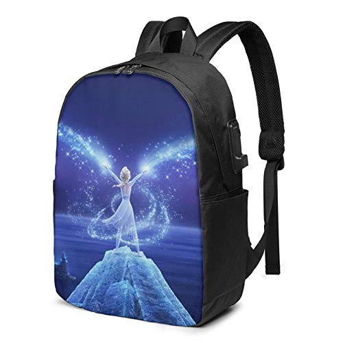 AOOEDM USB Backpack 17 in Fro-Zenschool Backpack,3D Printing 17in Large Capacity Computer Laptop Bookbags College Bags with USB Charging Port and Headphone Jack
