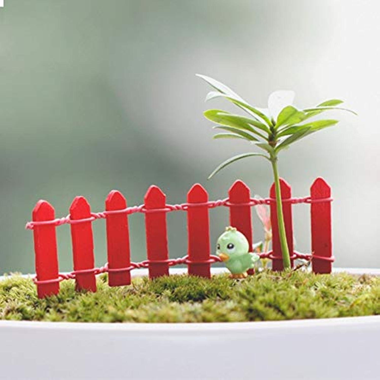Jicorzo - 20個DIY木製の小さなフェンスモステラリウム植木鉢工芸ミニおもちゃフェアリーガーデンミニチュア[赤]