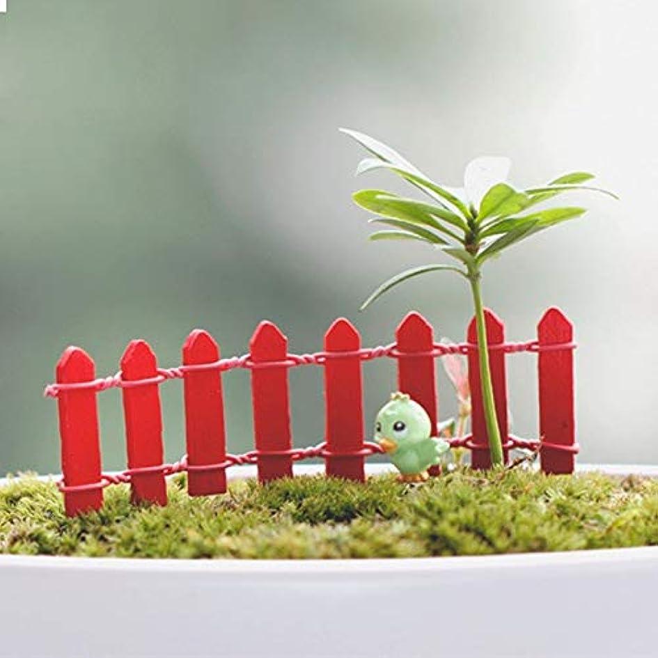 ロデオ泥だらけ詩Jicorzo - 20個DIY木製の小さなフェンスモステラリウム植木鉢工芸ミニおもちゃフェアリーガーデンミニチュア[赤]