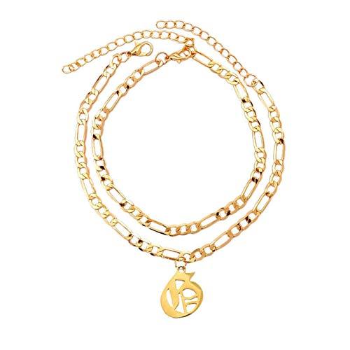 Sencillo y Elegante A-Z Letra Pulsera de los anklets Iniciales para Mujeres Color Oro Alfabeto Anklet Boho Verano Playa Descalzo joyería de joyería para Regalo de joyería de Mujer (Metal Color : G)