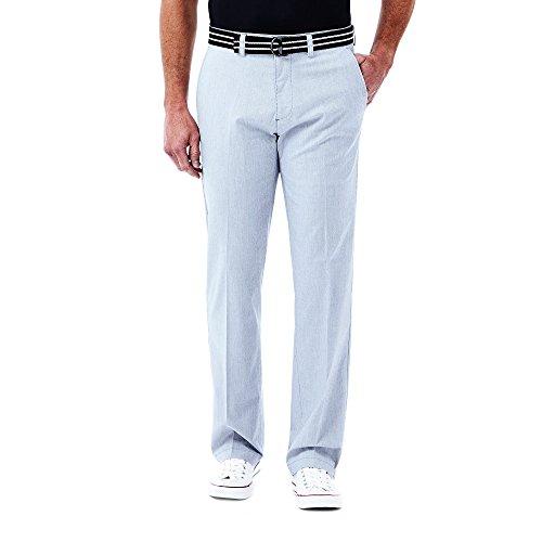 Haggar Men's Stripe Stretch Belted Poplin Flat Front Slim Fit Pant, Cobalt, 36x32