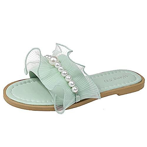 Pantofole Leggeri Durevole,Sandali Piatti in Rete con Volant,comode Pantofole da Indossare all'Esterno-Green_36 EU,Ciabatte Elegante Semplice Estivi Leggero