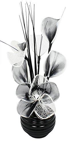 Flourish Kunstblumen im Topf Dekoration Wohnung Modern Deko Wohnzimmer, Geschenk, 32cm, Grau