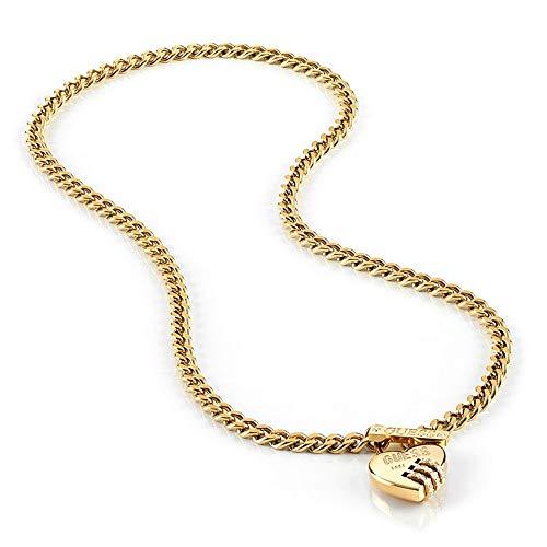Girocollo Indovina rinchiudermi UBN20049 acciaio inox. cuore blocco cristallo Swarovski placcato oro