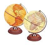 Exerz Globo Iluminado 20cm / Globo Antiguo Soporte de Madera - Mapa en inglés - Lámpara LED iluminada 2 en 1 - Globo para niños de día y de Noche - Escritorio de Oficina de decoración