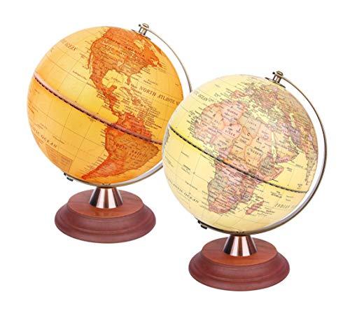 Exerz 20cm Leuchtglobus Antiker Globus Holzständer Metallbogen - Englisch Karte - 2 in 1 Leuchtende LED-Lampe - Tag und Nacht Kinder - Dekoration Büro Schreibtischplatte
