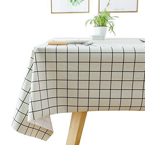 Plenmor - Mantel de vinilo resistente para mesa rectangular de PVC, a prueba de aceite, resistente al agua, resistente a las manchas y al moho, White Plaid, 137x185 cm