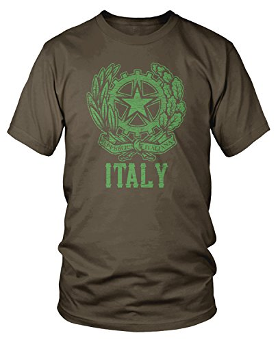 Amdesco Herren-T-Shirt, italienisches Wappen - Braun - Groß