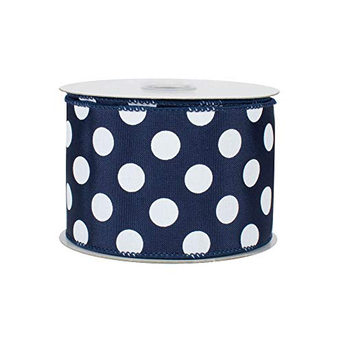 Navy Polka Dots Wired Ribbon - 2 1/2' x 10 Yards, White Dots on Navy Blue Faux Satin Ribbon, Christmas Decor, Wreaths, Garland, Swag, Baby Shower, Gender Reveal, Bows, Valentine's Day, Easter