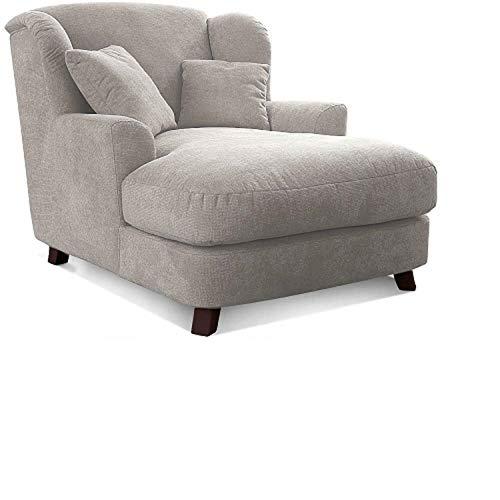 Cavadore XXL-Sessel Assado / Großer Polstersessel mit Holzfüßen und großer Sitzfläche / Inkl. 2 Zierkissen / 109 x 104 x 145 / Webstoff Creme