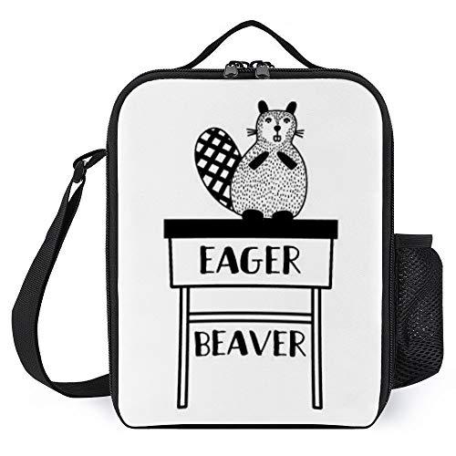 Bolsa de almuerzo aislada Eager-Beaver Thermocoolers loncheras de almuerzo bolsa térmica con soporte para botellas, bolsa de comida, regalo para profesores, estudiantes, familia, niños, 36 x 20 x 8 cm
