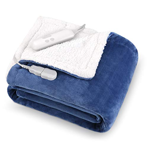 MaxKare Electric Blanket Heated Throw Flannel &...