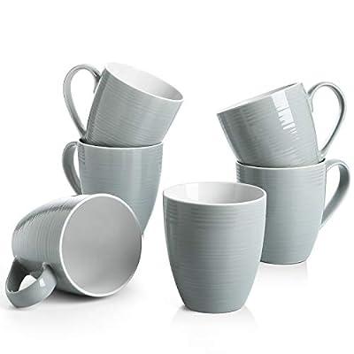 DOWAN Coffee Mugs, 17 Oz Coffee Mug Set of 6, Corrugated Tea Mugs, Grey