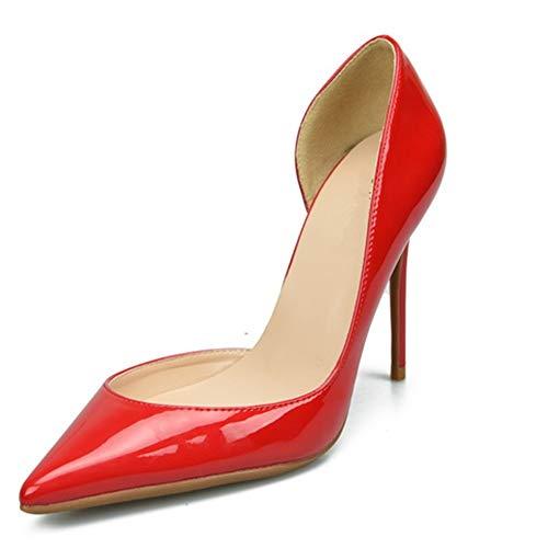 Comfortabel en veelzijdig temperament Dorsay Pumps For Women hoge stiletto hakken Side Cut Sexy Gerichte schoenen for dames hjm nvxie jfidmra (Color : Red 10 cm Heel, Size : 33 EU)