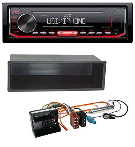 caraudio24 JVC KD-X252 1DIN AUX USB MP3 Autoradio für Citroen Berlingo, C2, C3, Jumpy