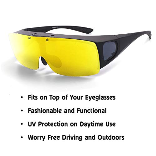 TAC FLIP Glasses by Bell+Howell Sports Polarized Flipping Sunglasses for Men Military-Inspired As Seen On TV (Yellow Night Vision)