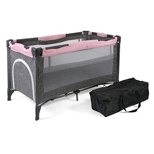 CHIC 4 BABY 340 15 Reisebett LUXUS mit Einhängeboden für Neugeborene und Tragetasche, Melange grau-rosa, grau, 12 kg