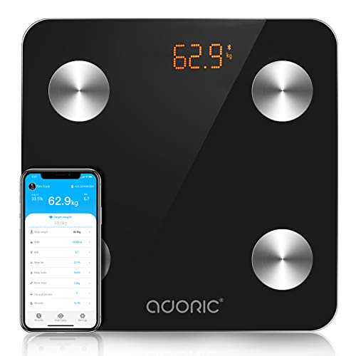 Adoric- Báscula inteligente Bluetooth para iOS y Android, multimedidas, encendido/apagado automático, 150 kg (negro)