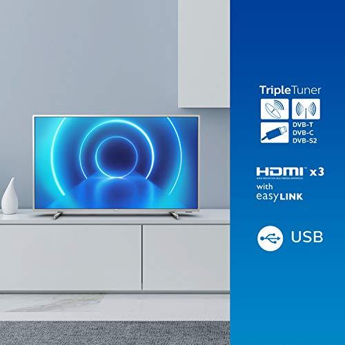 Televisor 4K UHD Philips 58PUS7555/12 de 146 cm (58 pulgadas) (4K UHD, P5 Perfect Picture Engine, Dolby Vision, Dolby Atmos, HDR 10+, Saphi Smart TV, HDMI, USB), Color plata (modelo de 2020/2021) miniatura
