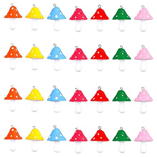 SUNNYCLUE 1 Juego 28 Piezas 7 Colores Resina Colgante Setas Encantos Comida 3D Simulación Hongos Adornos A Granel para Bricolaje Pendientes Pulsera Collar Fabricación Joyas Decoración Jardín