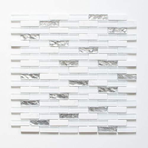 Mosaikfliese Transluzent Komposit weiß Verbund Glasmosaik Crystal Artificial silber weiß MOS86-VW48