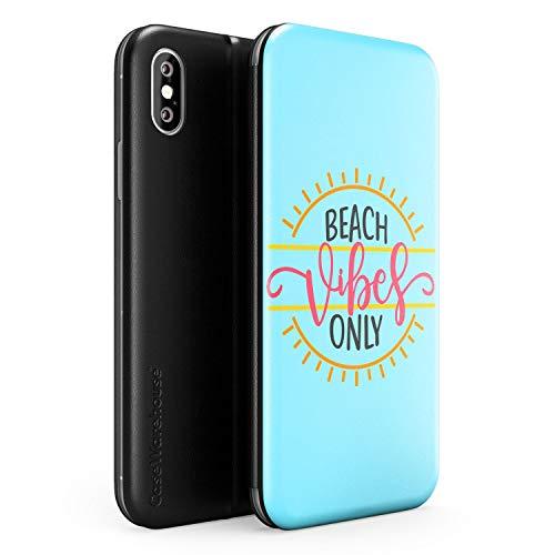 iPhone XS MAX Case Strand Vibes Nur | Kunstleder Brieftasche Flip Card Slot Cover Kickstand | Sommer Zitat Strand Tropisch Blau