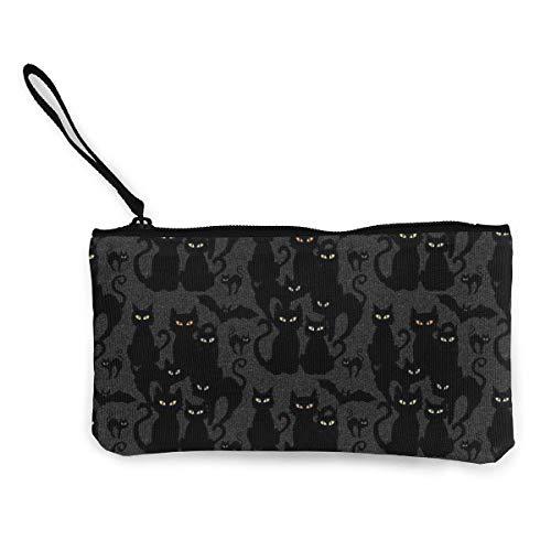 Halloween Katzen Augen auf Sie Frauen Leinwand Münzgeldbörse Geldbörse ändern Beutel-Kartenhalter Telefon Brieftasche Aufbewahrungstasche, Pencil Pen Case